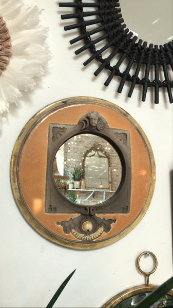 Antique Round Italian Cupid Mirror