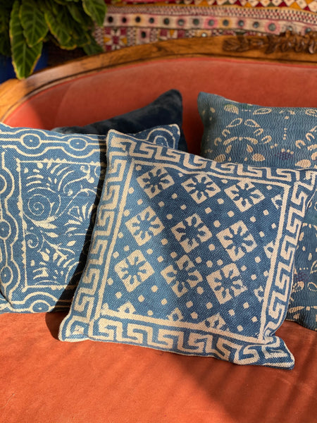 Indigo Thick Weave Square Pillow