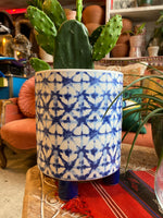 Indigo Block Print Footed Planter ~ 2 Sizes