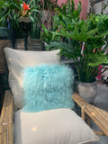 Minty Curly Mongolian Lamb Fur Pillow