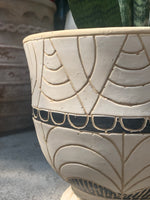 Black + Tan Scalloped Urn Planter
