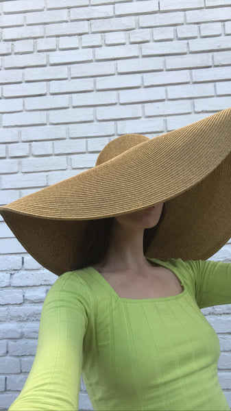 Oversized Collapsible Woven Sun Hat