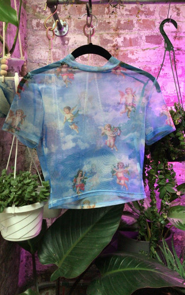 Stupid Cupid Short Sleeve Mesh Top- BLUE