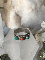 1970s Coral and Turquoise Inlay Southwestern Ring