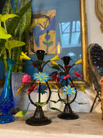 Floral Metal Tole Candle Holders