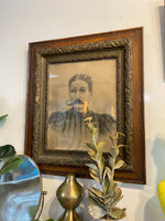 Antique Victorian Framed Woman With Stache