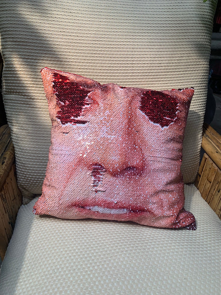 Nick Cage Sequined Pillow