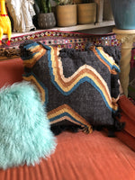 Black Rainbow Fringe Pillow