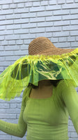 Yellow Woven Sun Hat with Neon Vinyl Trim