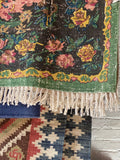 Vegetable Dyed Woven Floral Rug ~ Green 4' x 6'