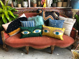 Embroidered Eyes Pillow ~ Emerald