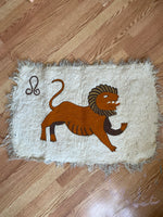 Antique Embroidered Lion Rug