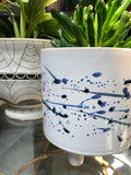 Indigo Splatter Stoneware Footed Pot