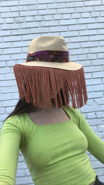 Woven Fedora with Copper Fringe