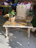 Antique Tiled Wrought Iron Table with Claw Feet
