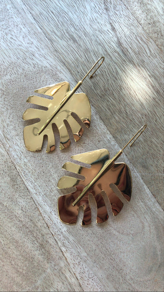 Gold Monstera Earring