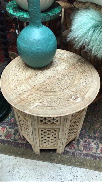 Vintage Hand Carved Collapsible Table