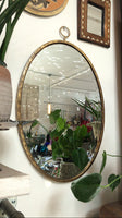 Gold Oval Hanging Mirror