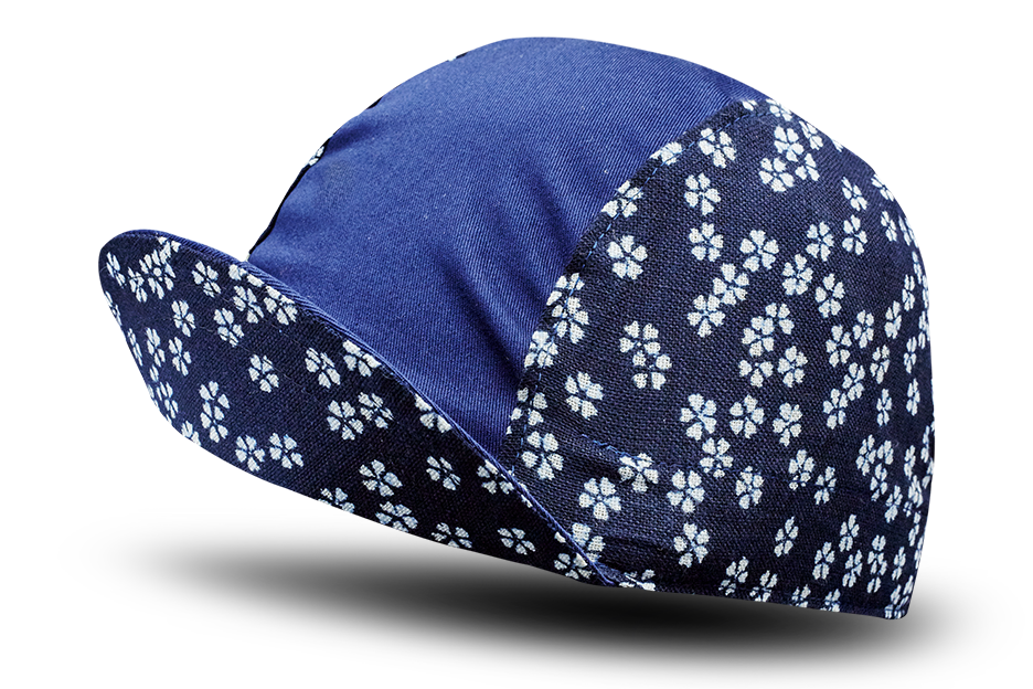 Little Japanese Cherry Blossoms on Blue Cycling Cap