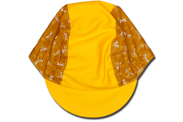Little Japanese Chevron Dragonfly on Mustard Yellow Cycling Cap