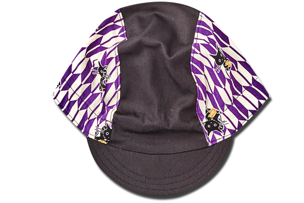 Sashiko Arrow and Cats PURPLE Cycling Cap