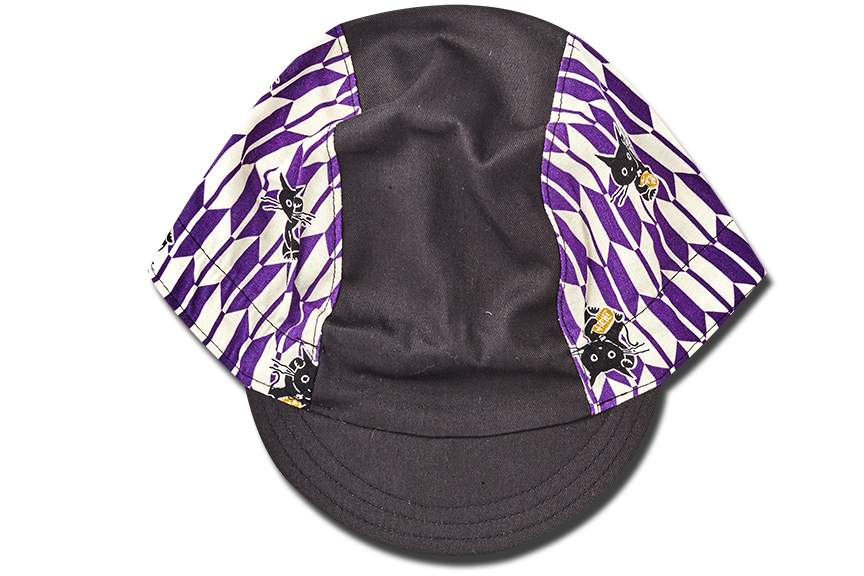 Little Sashiko Arrow and Cats PURPLE Cycling Cap