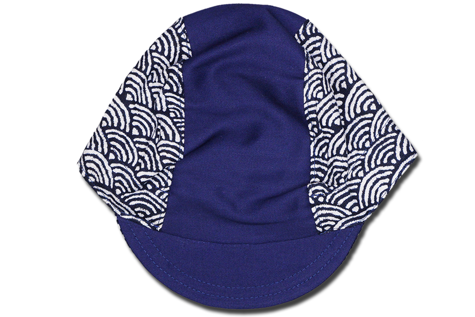 Little Sashiko Wave on Blue Cycling Cap