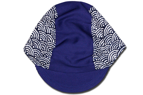 Sashiko Wave Half Blue Cycling Cap