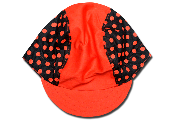 Polka Dots Red on Black Cycling Cap
