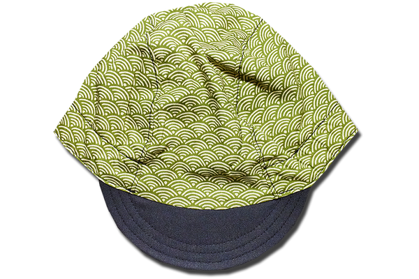 Little Sashiko Wave Green Cycling Cap
