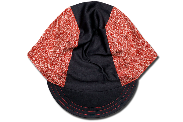 Sashiko Wave RED Cycling Cap