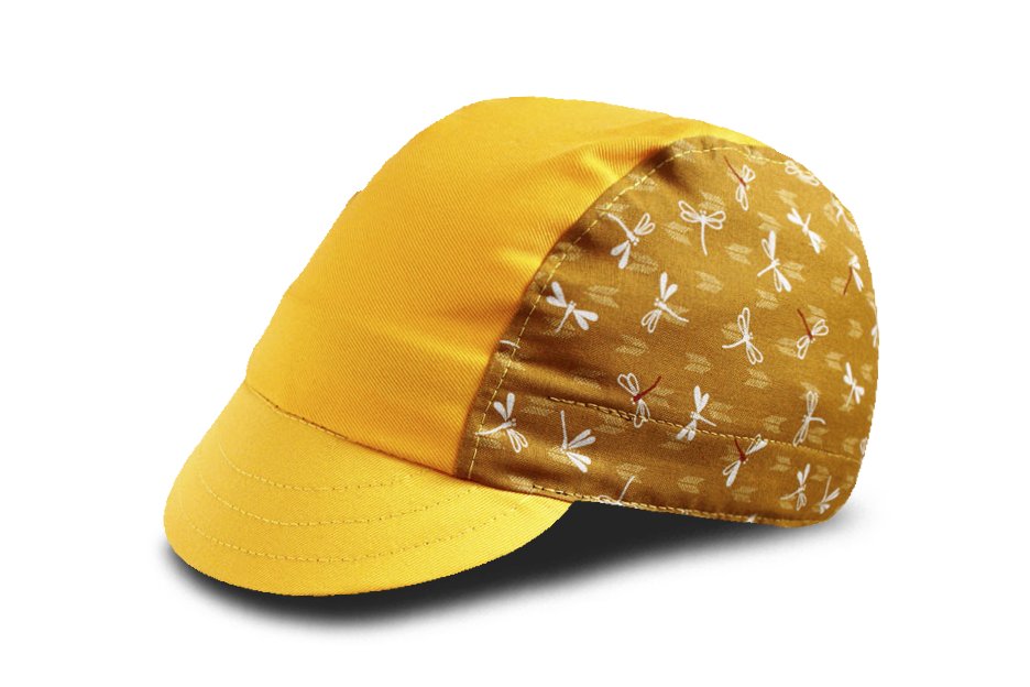Little Japanese Dragonfly on Mustard Yellow Cycling Cap