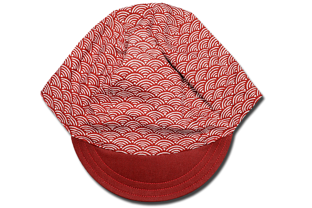 Sashiko Wave Maroon Cycling Cap Ver 1.0