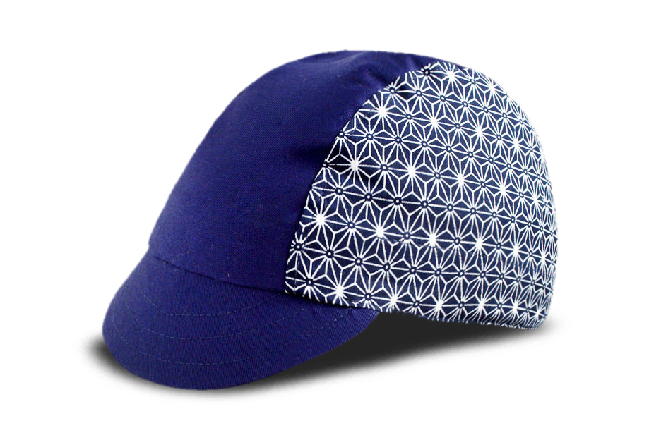 Little Sashiko Star on Blue Cycling Cap