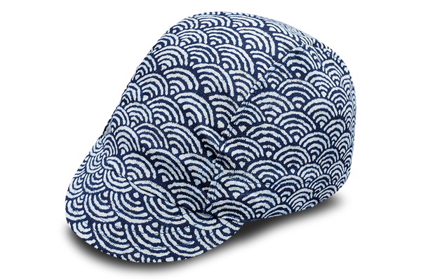 Sashiko Wave Blue Cycling Cap