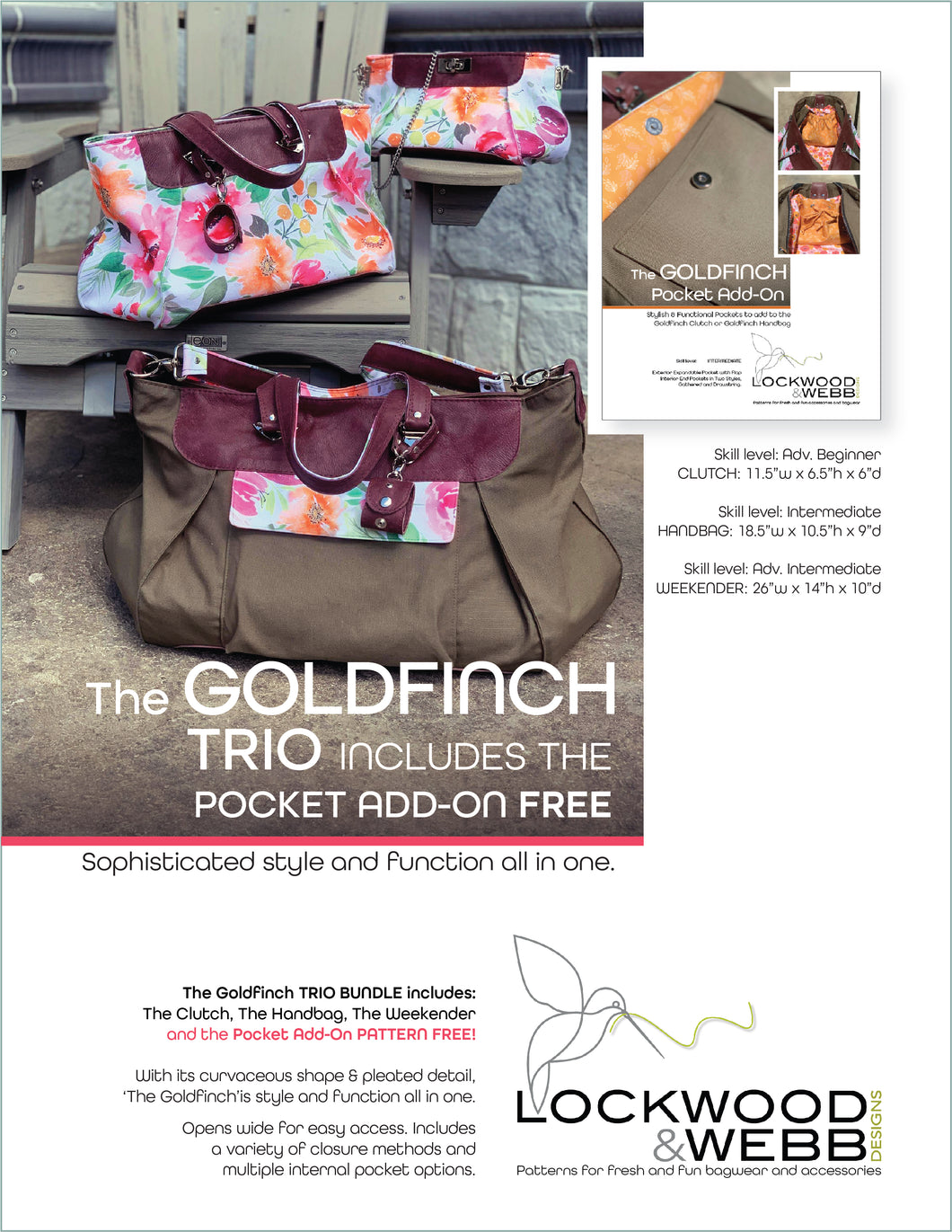 The Goldfinch TRIO with FREE Pocket ADD-ON Pattern