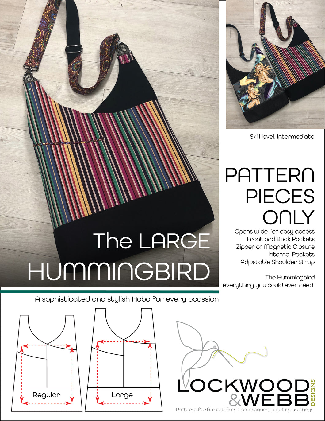 The Hummingbird Hobo LARGE - PATTERN PIECES Only