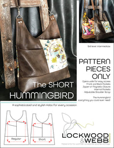 The Hummingbird Hobo SHORT - PATTERN PIECES Only