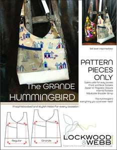 The Hummingbird Hobo GRANDE - PATTERN PIECES Only