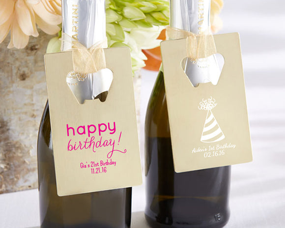 Personalized Gold Credit Card Bottle Opener - Birthday