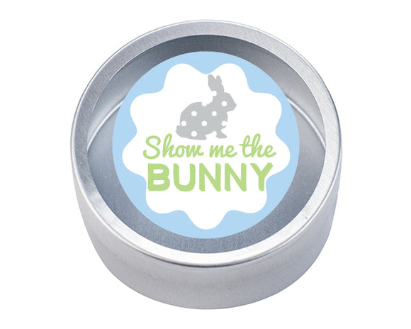 Silver Round Candy Tin - Show me the Bunny (Set of 12)