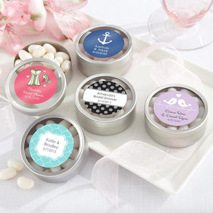 """Simply Sweet"" Round Candy Tin - Wedding (Set of 12) (Personalization Cost Included!)"
