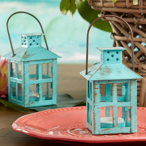 Vintage Blue Distressed Lantern - Small - InCasaGifts