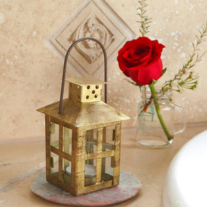 Vintage Antique Gold Distressed Lantern - Small - InCasaGifts