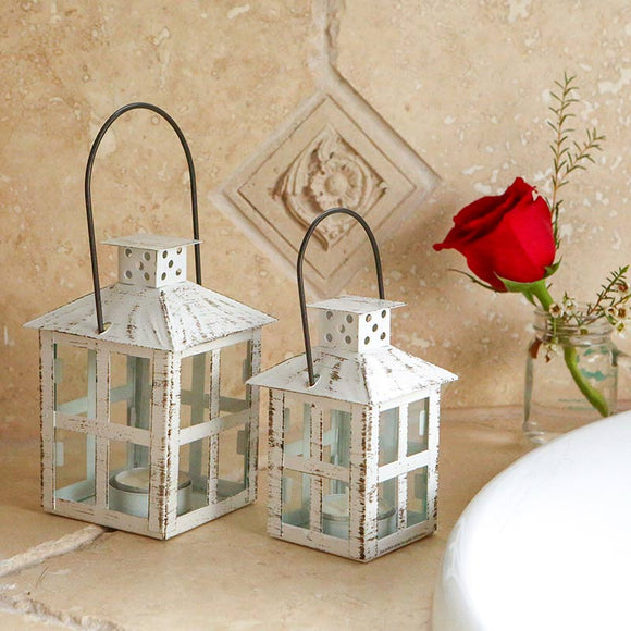 Vintage White Distressed Lantern - Small - InCasaGifts