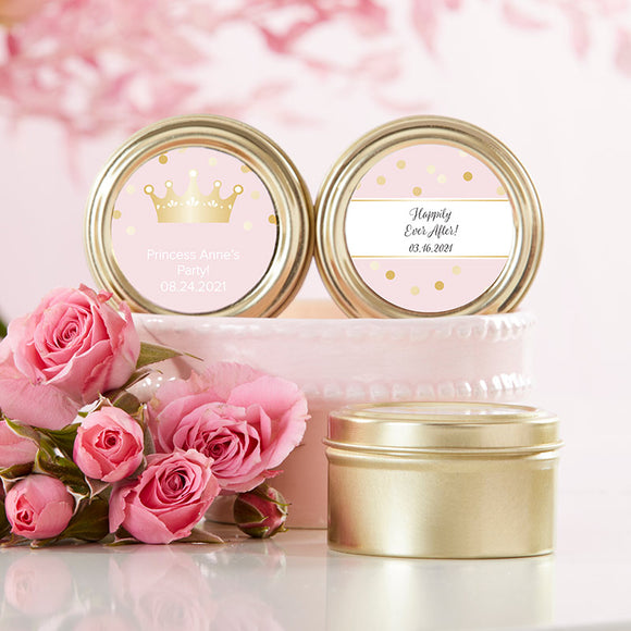 Personalized Gold Round Candy Tin - Princess Party (Set of 12) - (Personalization Cost Included!)