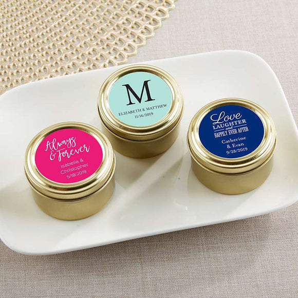 Personalized Gold Round Candy Tin - Wedding (Set of 12) (Personalization Cost Included!)