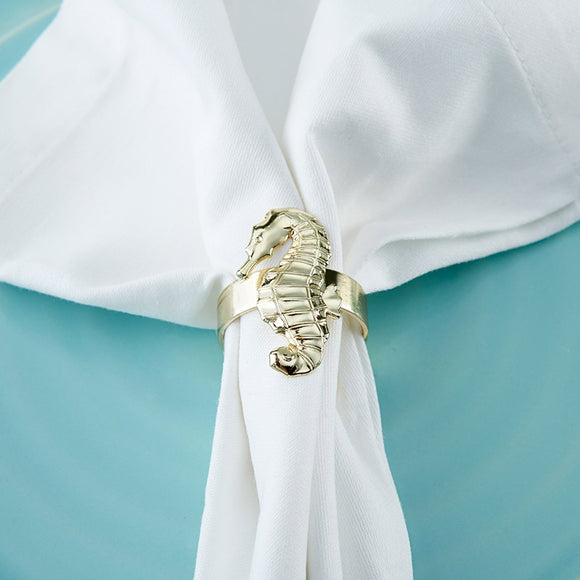 Gold Seahorse Napkin Ring (Set of 4)