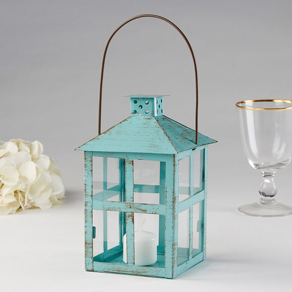 Vintage Blue Distressed Lantern - Large - InCasaGifts