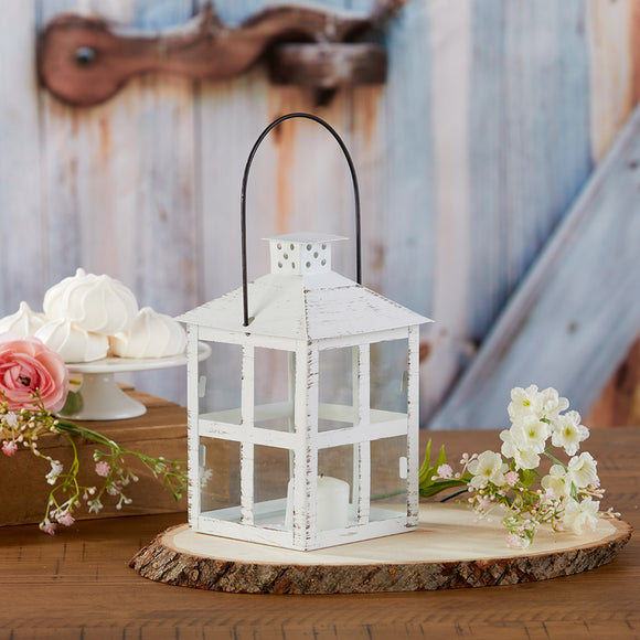Vintage White Distressed Lantern - Large - InCasaGifts